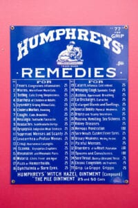 Humphreys' Remedies Sign