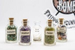 Corked Bottle full of: Silver, Aventurine, Peridot, Amethyst, OR Mixed Gemstones