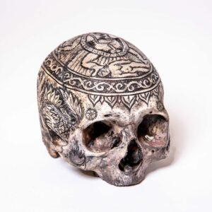 Scrimshaw Kapala Human Skull