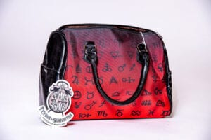 Red Ombre Alchemy Symbol Barrel Style Hand Bag