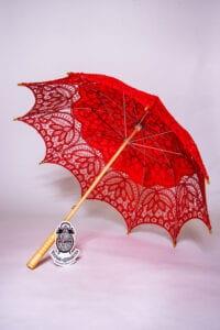 Red Cotton Lace Parasol