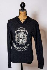Vintage Black Long Sleeve Hooded Time Bomb T-Shirt