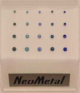 Neometal Blue/Green Bezel CZs